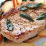 Apple Pork Steaks with Nectarine and Basil Salad