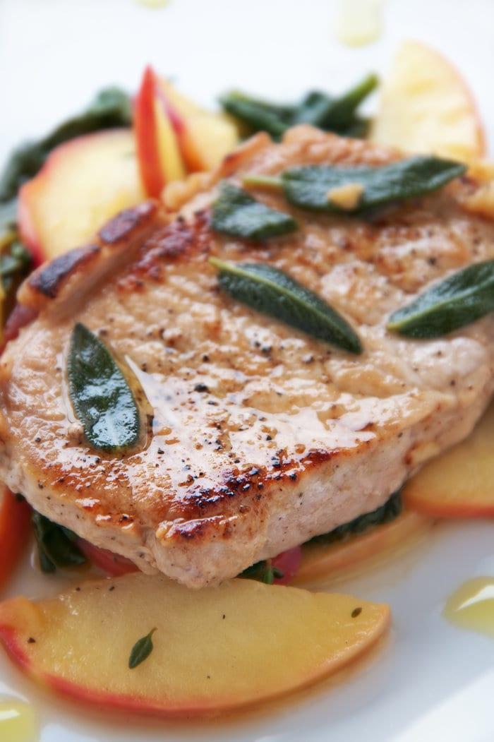 Apple Pork Steaks with Nectarine and Basil Salad