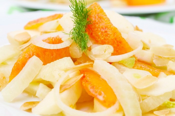 Orange and fennel salad with Kingklip ceviche 700x489