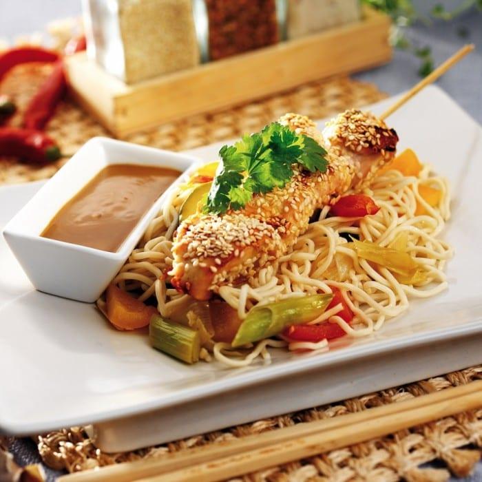 Sticky Sesame Chicken with Soba Noodles 700x700